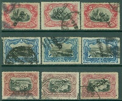 MEXICO : 1900. Scott #O56-58. 3 stamps @ All are Fresh & VF Used incl invt ovpts