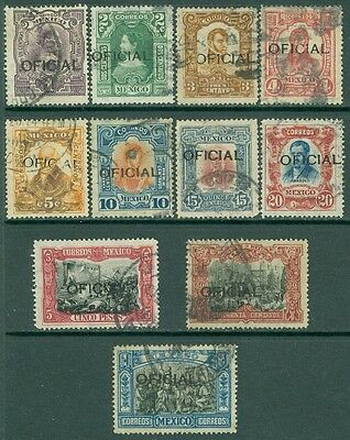 MEXICO : 1911. Scott #O75-85. A Choice Very Fine, Used set. Catalog $197.00.