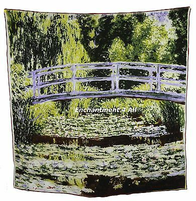 """100% Pure Silk Art Scarf Wrap 35""""X35"""" Handrolled w/ Monet's """"The Waterlily Pond"""""""