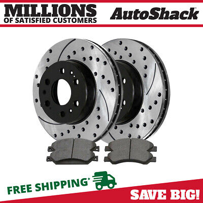 Lexus GS300 FRONT BLACK HART DRILLED SLOTTED BRAKE ROTORS