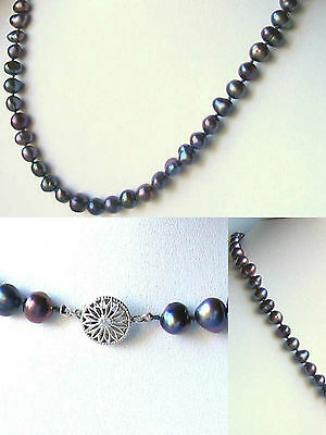 """DRAMATIC! Rainbow Peacock Freshwater Pearl 925 Sterling Silver NECKLACE 20"""" 9808"""