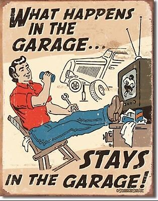 Nostalgic Tin Metal Sign - What Happens in Garage Stays In The Garage  #1496