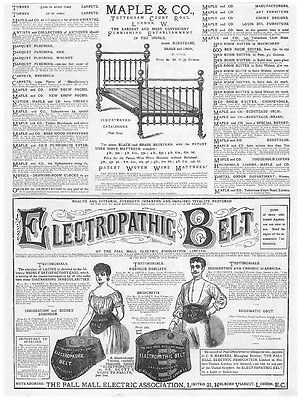 Victorian Adverts; Maple & Co Beds, Electropathic Belt - Antique Print 1885