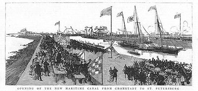RUSSIA Opening of the Kronstadt to St Petersburg Maritime Canal - Old Print 1885