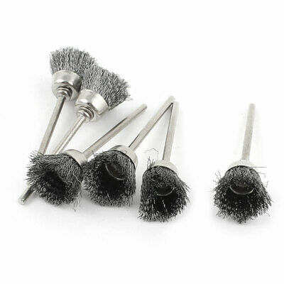 6 Pcs 2.3mm Shank 15mm Cup Shape Stainless Steel Wire Brush for Rotary Tool