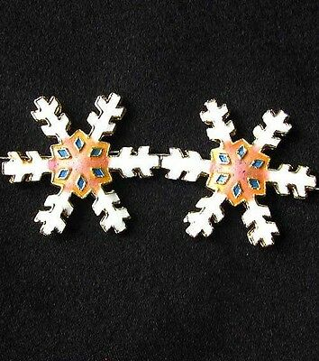 TWO Peach CLOISONNE Snowflake CENTERPIECE Beads 8638G