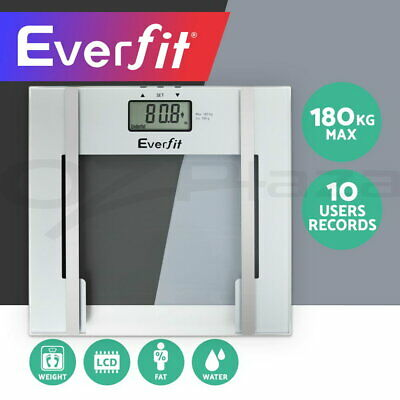 Everfit Digital Body Fat Scale Bathroom Gym Weight LCD Electronic Water Glass