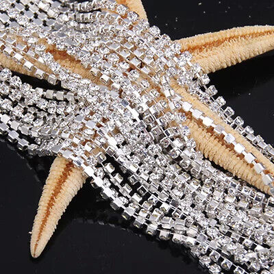 New Clear Crystal Glass Rhinestone Compact Close Silver Chain Trims Applique
