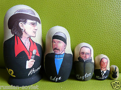 U2 Rock Group Russian Painted Doll Set Of 5 - Bono U2 Showing All Band Members