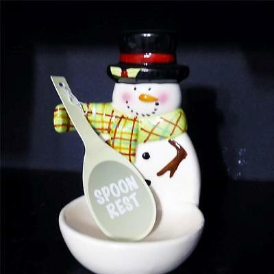 CERAMIC UPRIGHT SNOWMAN SPOON REST~Christmas Kitchen Decoration~Stand Up~NEw