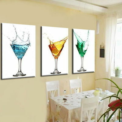 """Modern Abstract art oil painting """"wineglass"""" on canvas 3pc(no framed)"""