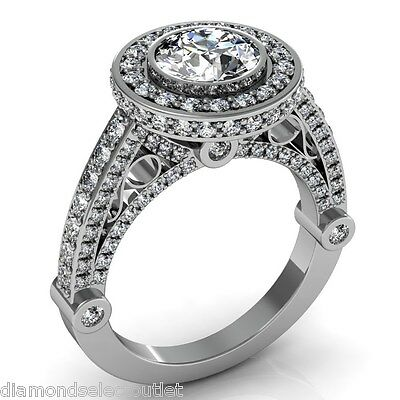 STL 3DM File Jewelry Design Halo Engagement Ring Round Cut 1 1/4 center