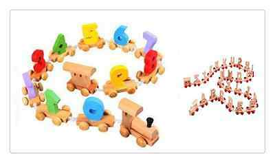 Brand New Wooden Alphabet Letter +Digital Train Sets Railway Kids LearningToy