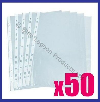 50 x A4 Clear Plastic Punched Punch Pockets Folders Filing Wallets Sleeves