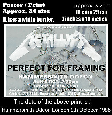 Metallica live concert Hammersmith London 9th October 1988  A4 size poster print