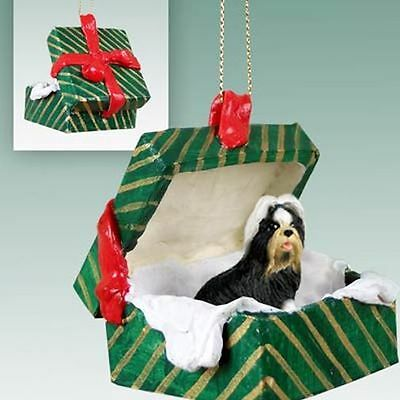 SHIH TZU Black White Dog Green Gift Box Christmas Holiday ORNAMENT