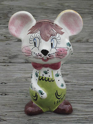 NAPLES ITALY Ischia Island HAND PAINTED MOUSE CERAMIC FIGURINE COIN BANK Vintage