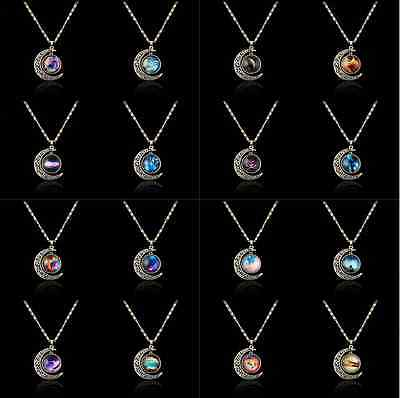 HOT Sale Women's Crescent Moon Galactic Cosmic Glass Cabochon Pendant Necklace