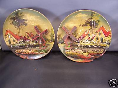 Two Vintage wooden plates with windmills