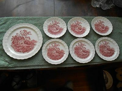 Vtg. Lot Taylor Smith Taylor TS&T Red Castle Dinner Bread Plates Saucers