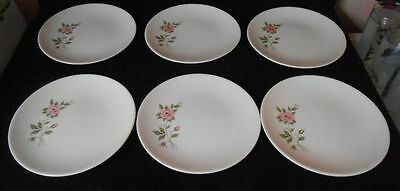 """6 Vintage Knowles Debussy 6 1/4"""" D Bread & Butter Plates Pink Roses Green Leaves"""