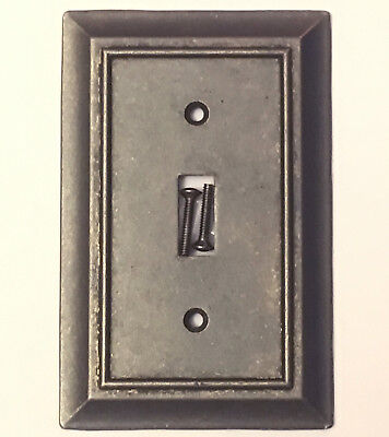 Iron Pewter Finish Single Light Switch Wall Plate Toggle Wallplate Cover