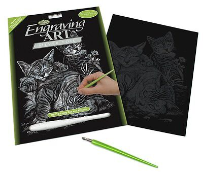 Engraving Art Set - Tabby Cat and Kittens - Silver Foil - Royal and Langnickel