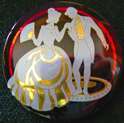 Collection of 6 Czech Crystal Buttons #952 - DIFFERENT ROCOCO COUPLES with GOLD