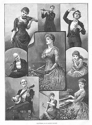 Victorian Musical Performers at an Amateur Concert - Antique Print 1887