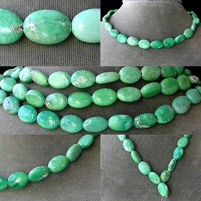 VERY RARE! Natural VARISCITE 14x10 Oval BEAD STRAND 106676A