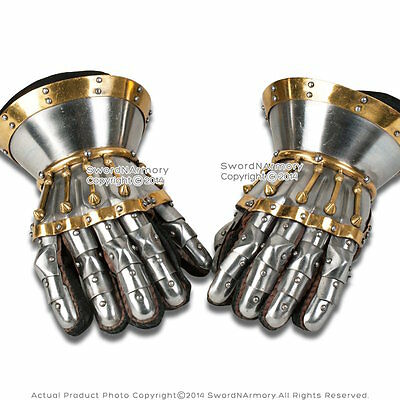 Silver Functional Large 16G Steel Princely Hourglass Gauntlets Leather Glove SCA