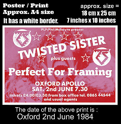 Twisted Sister live concert Oxford England 2nd of June 1984 A4 size poster print