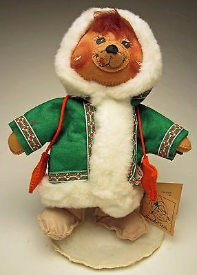 Annalee Christmas 1988 Mobility Doll 11 inch Alpine Bear Wearing A Green Jacket