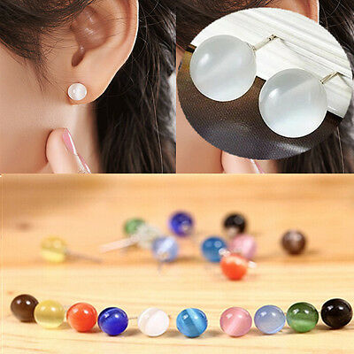 Charming Womens Silver Round Cat's eye Stone Simple Stud Earrings Jewelry Gift