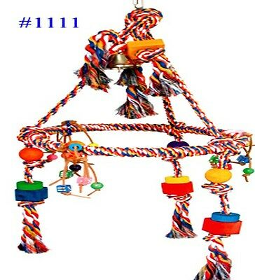 1111 HUGE PYRAMID ROPE RING SWING BIRD TOY PARROT CAGE TOYS CAGES MACAW AMAZON