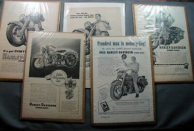 5 Different Harley Davidson Magazine Advertisements 1951-1953 Very Nice