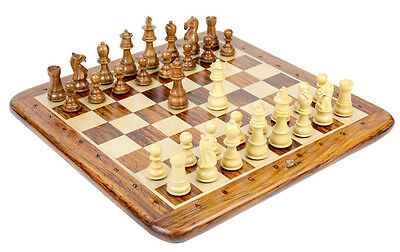 """Wooden Chess Set Pieces Golden Rosewood Galaxy Staunton Size 3"""" + Chess Board"""