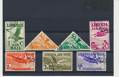 Old Airmails 1938 Set of 7 Liberia #C4 - C10 includes triangles, attractive set