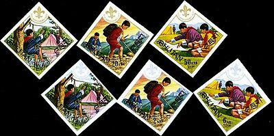 Scouting Boy Scouts Diamond Shaped Imperf Stamps Bhutan # 134-139 MNH