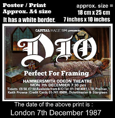 Ronnie James Dio live concert London 7th of December 1987 A4 size poster print