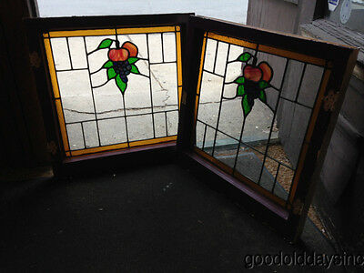 "Nice Pair of Antique Grape & Fruit Stained Leaded Glass Windows 23"" by 23"""