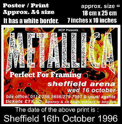 Metallica live concert Sheffield England 16th October 1996 A4 size poster print