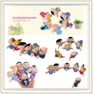 6X Hot Sale Family Finger Puppets Cloth Doll Baby Kid Educational Hand Toy Story