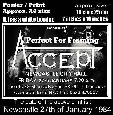 Accept live concert Newcastle England 27th of January 1984 A4 size poster print
