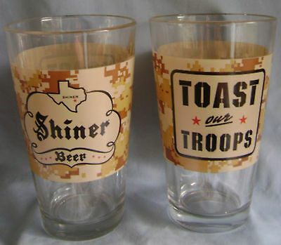 2 Shiner  Beer Toast our Troops New 16 oz. Pint Glass (2) .Shiner, Texas Brewer