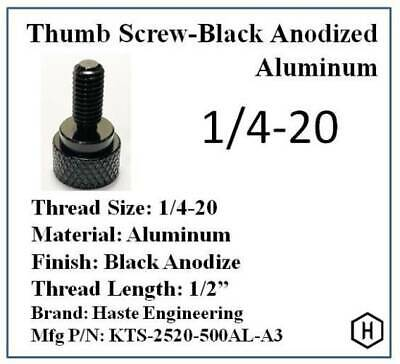 "1/4-20 x 1/2"" Knurled Thumb Screw (10 Pieces) Aluminum Black Anodized Finish"
