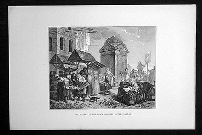 1860 Antique Print view of The Market in Maubert, Paris France