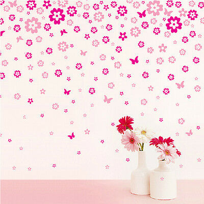 124 Flowers &7 Butterflies DIY Wall Art Stickers Removable Decal Room Home Decor