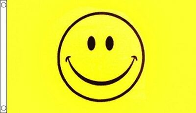 Smiley Face Flag 5 x 3 FT - 100% Polyester With Eyelets - Flag