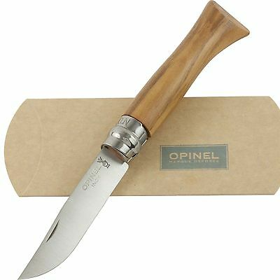 OPINEL No. 6 Olive Wood Handle Knife Lock NEW France 00983 Safety Ring Pocket